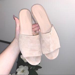 VINCE | Blush Pink Suede Slide On Peep Toe Mules
